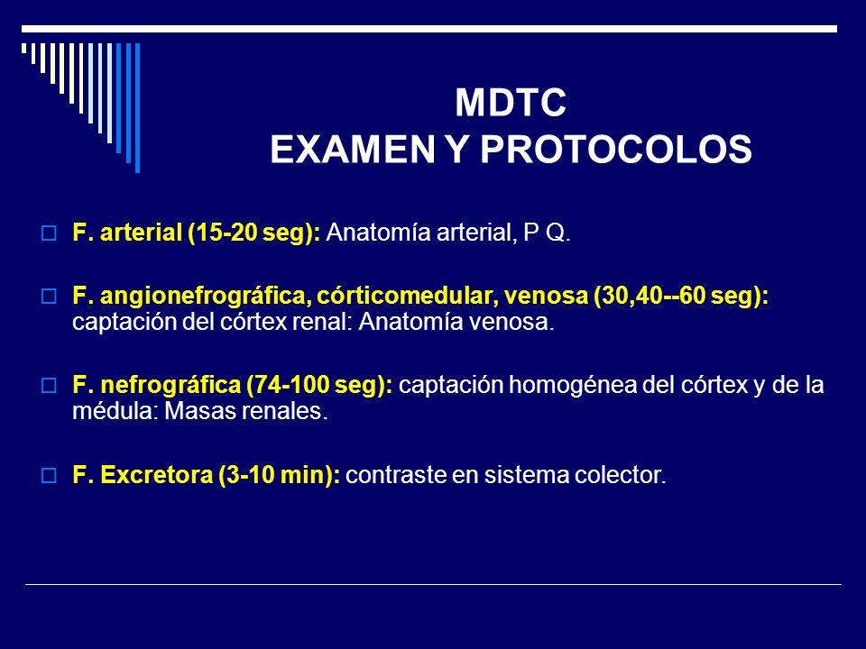 F. arterial (15-20 seg): Anatomía arterial, P Q. F. angionefrográfica, córticomedular, venosa (30,40--60 seg): captación del córtex renal: Anatomía ve
