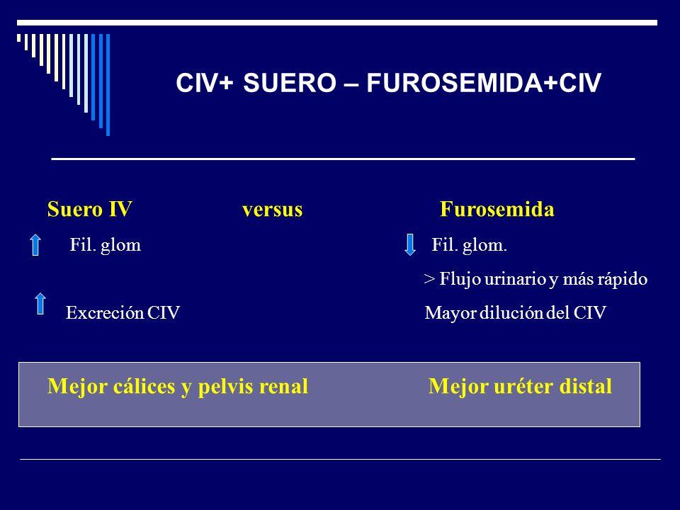 CIV+ SUERO – FUROSEMIDA+CIV Suero IV versus Furosemida Fil. glom Fil. glom. > Flujo urinario y más rápido Excreción CIV Mayor dilución del CIV Mejor c