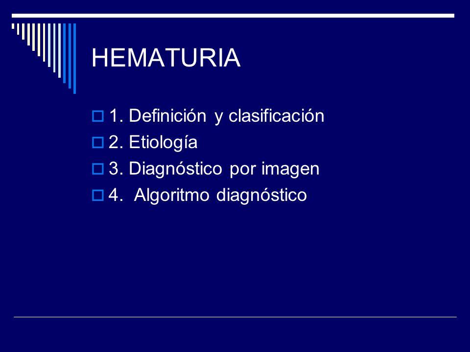 HEMATURIA 1. Definición y clasificación 2. Etiología 3. Diagnóstico por imagen 4. Algoritmo diagnóstico