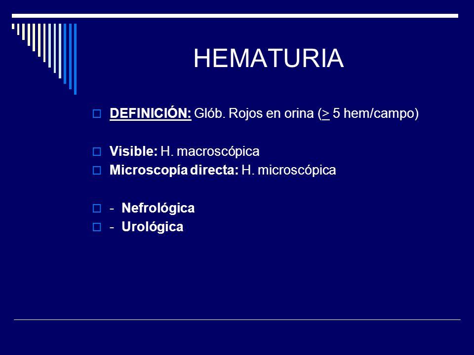 HEMATURIA DEFINICIÓN: Glób. Rojos en orina (> 5 hem/campo) Visible: H. macroscópica Microscopía directa: H. microscópica - Nefrológica - Urológica
