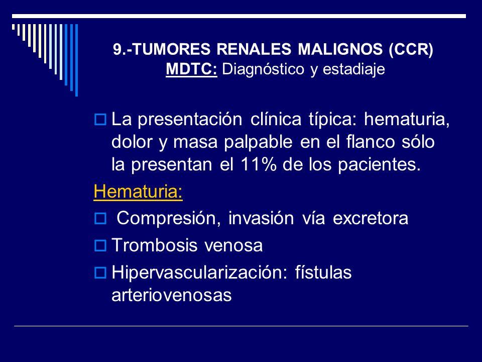 La presentación clínica típica: hematuria, dolor y masa palpable en el flanco sólo la presentan el 11% de los pacientes. Hematuria: Compresión, invasi
