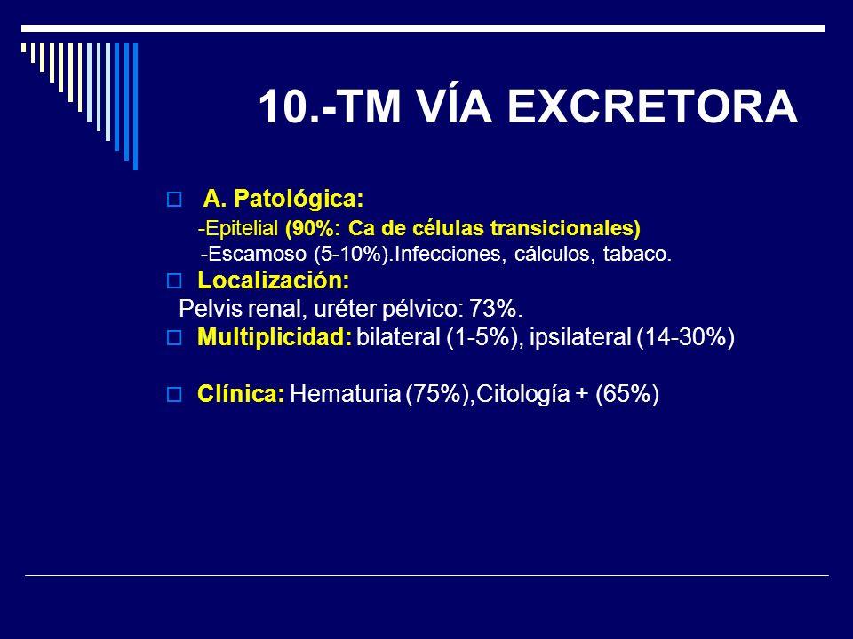 A. Patológica: -Epitelial (90%: Ca de células transicionales) -Escamoso (5-10%).Infecciones, cálculos, tabaco. Localización: Pelvis renal, uréter pélv