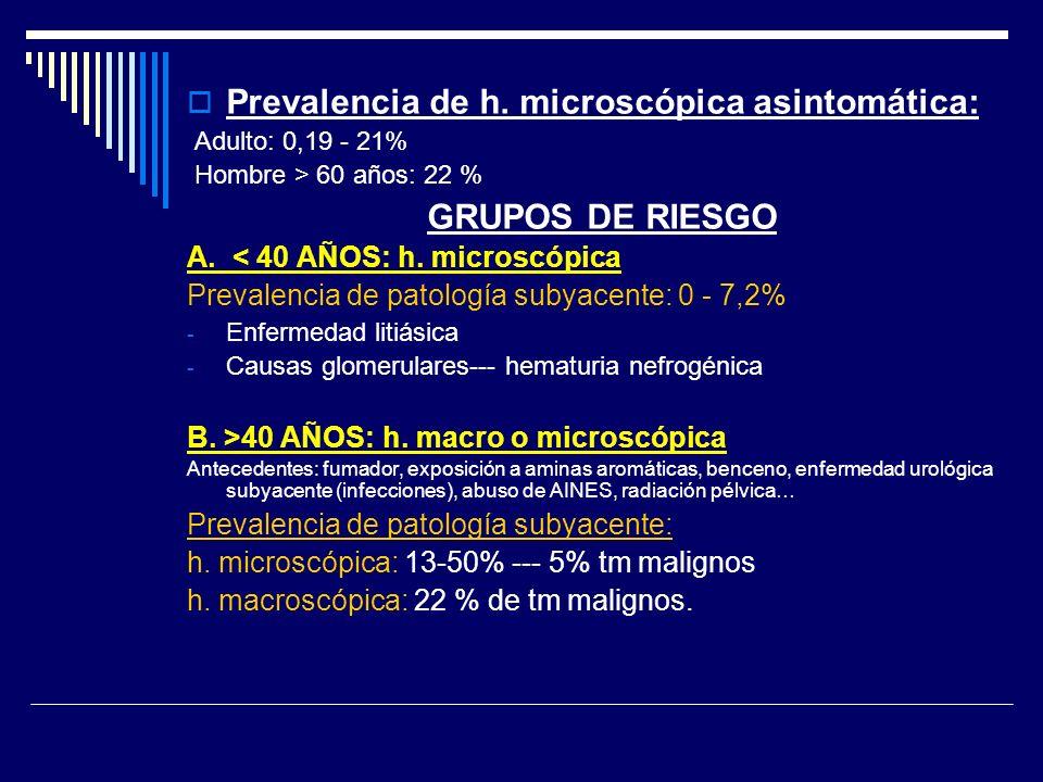 Prevalencia de h. microscópica asintomática: Adulto: 0,19 - 21% Hombre > 60 años: 22 % GRUPOS DE RIESGO A. < 40 AÑOS: h. microscópica Prevalencia de p