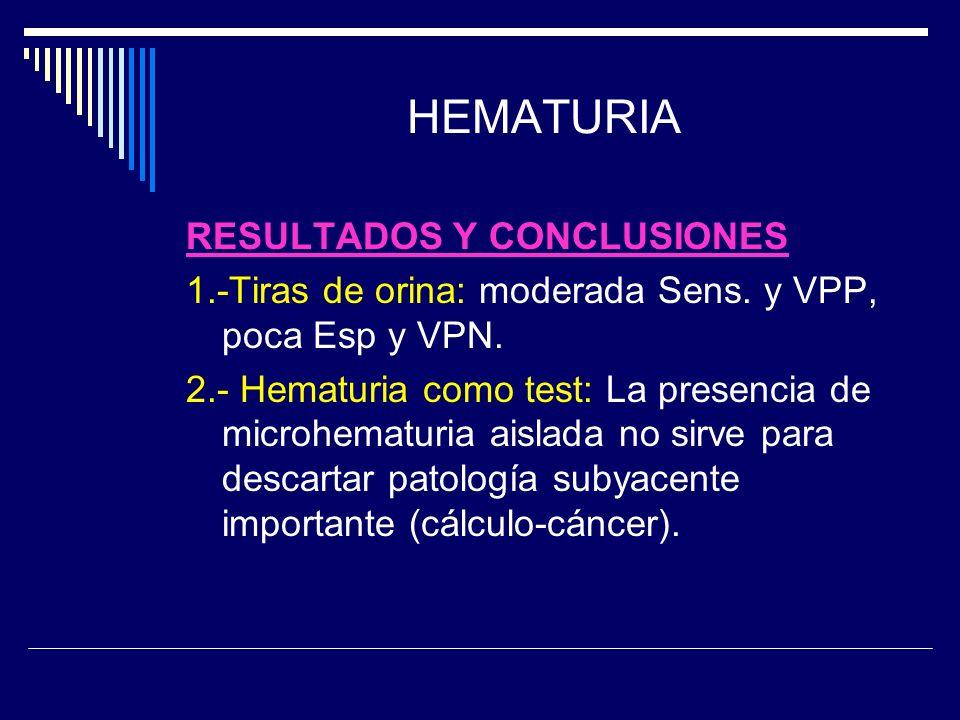 HEMATURIA RESULTADOS Y CONCLUSIONES 1.-Tiras de orina: moderada Sens. y VPP, poca Esp y VPN. 2.- Hematuria como test: La presencia de microhematuria a