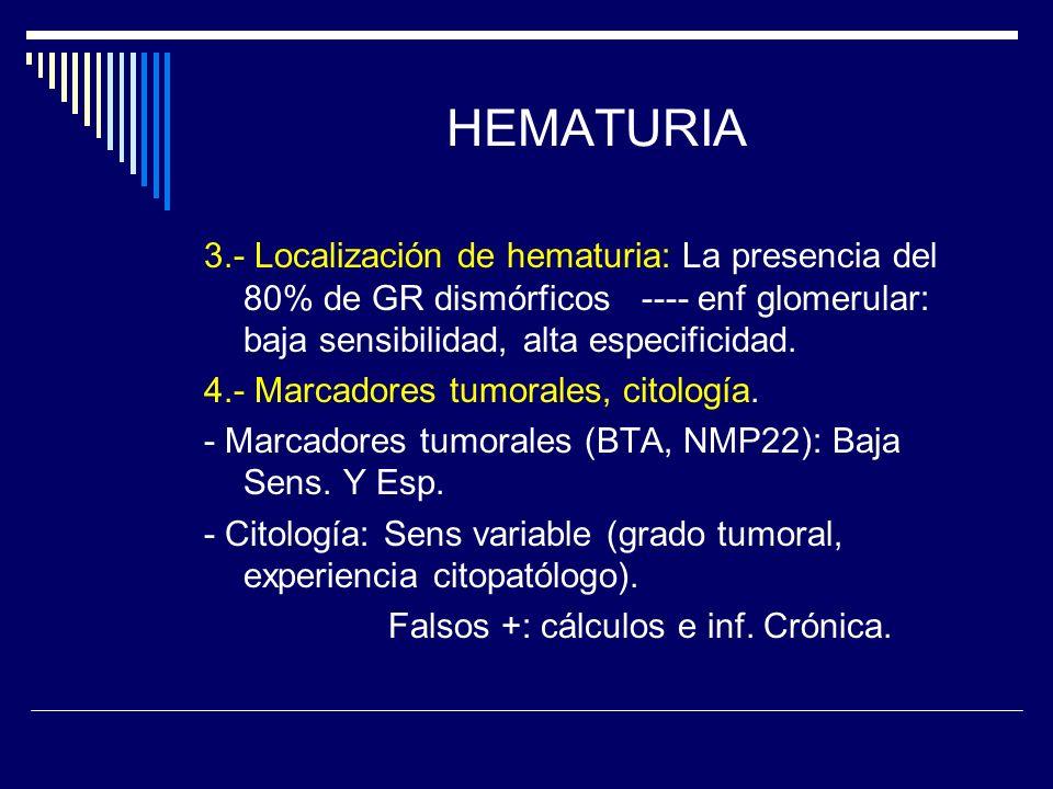 HEMATURIA 3.- Localización de hematuria: La presencia del 80% de GR dismórficos ---- enf glomerular: baja sensibilidad, alta especificidad. 4.- Marcad