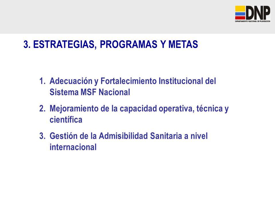 3. ESTRATEGIAS, PROGRAMAS Y METAS 1.Adecuación y Fortalecimiento Institucional del Sistema MSF Nacional 2.Mejoramiento de la capacidad operativa, técn
