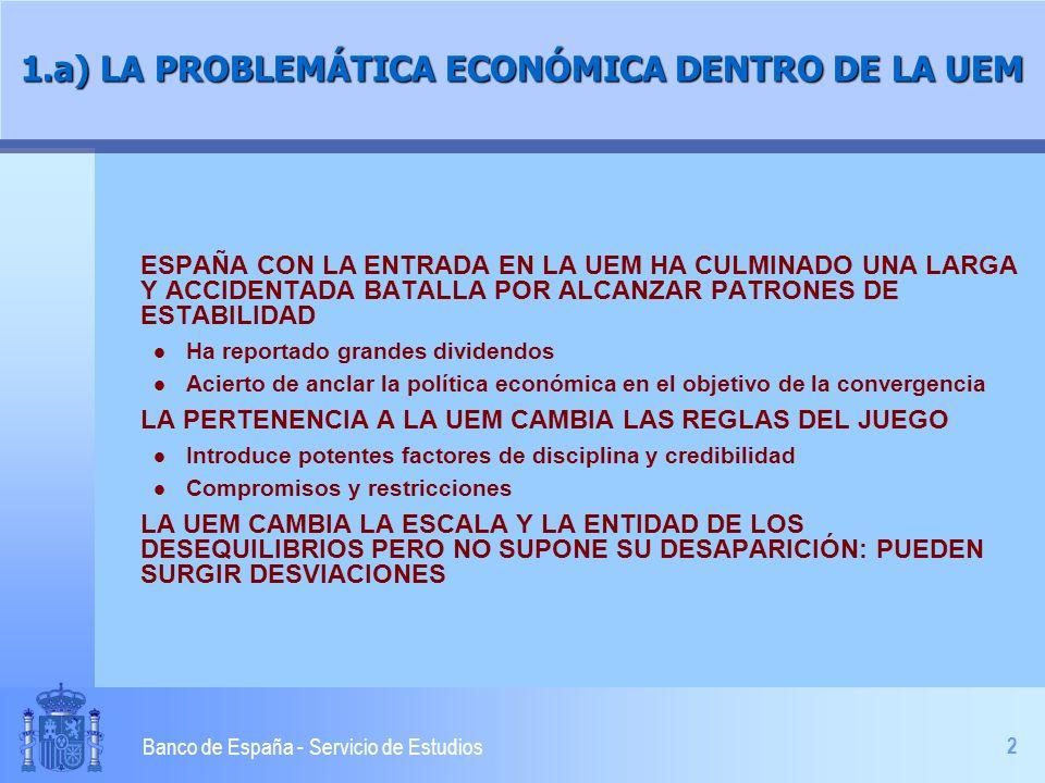 3 Banco de España - Servicio de Estudios 1.b) LA PROBLEMÁTICA ECONÓMICA DENTRO DE LA UEM LA POLÍTICA MONETARIA ÚNICA NO PUEDE PROCURAR CONDICIONES HOMOGÉNEAS DE DEMANDA l Diferencias en los canales de transmisión l Divergencias cíclicas l Componentes nacionales de las políticas de demanda LA SENSIBILIDAD DE LA OFERTA ES DIFERENTE l Flexibilidad de mercados l Pautas de indiciación