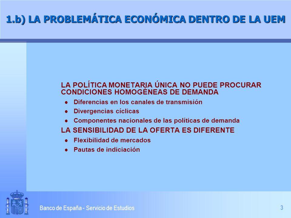 3 Banco de España - Servicio de Estudios 1.b) LA PROBLEMÁTICA ECONÓMICA DENTRO DE LA UEM LA POLÍTICA MONETARIA ÚNICA NO PUEDE PROCURAR CONDICIONES HOM