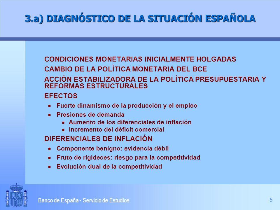 6 Banco de España - Servicio de Estudios 3.b) DIAGNÓSTICO DE LA SITUACIÓN ESPAÑOLA RESORTES DE LA ECONOMÍA ESPAÑOLA l Situación saneada de empresas y familias l Política fiscal equilibrada l Desaceleración de demanda RIESGOS: INERCIA DE PRECIOS Y SALARIOS l Velocidad de reducción de los diferenciales l Debilitamiento de la generación de empleo