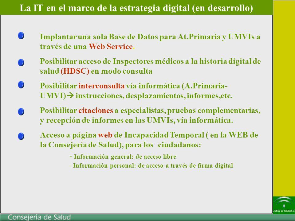 Implantar una sola Base de Datos para At.Primaria y UMVIs a través de una Web Service.