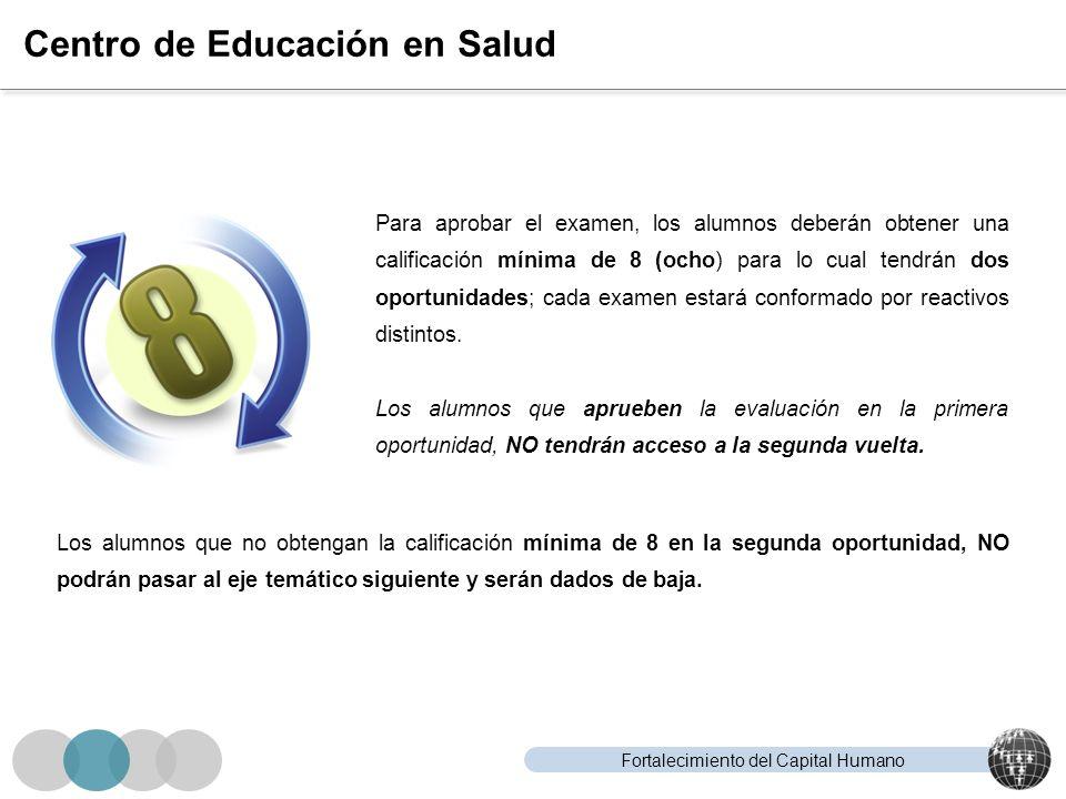 Fortalecimiento del Capital Humano Centro de Educación en Salud Para aprobar el examen, los alumnos deberán obtener una calificación mínima de 8 (ocho