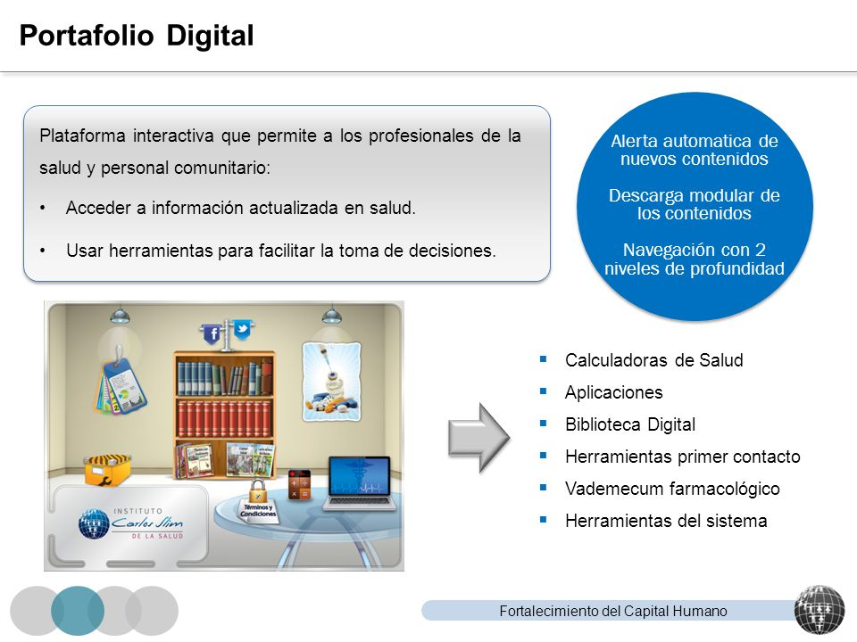Fortalecimiento del Capital Humano Portafolio Digital Calculadoras de Salud Aplicaciones Biblioteca Digital Herramientas primer contacto Vademecum far