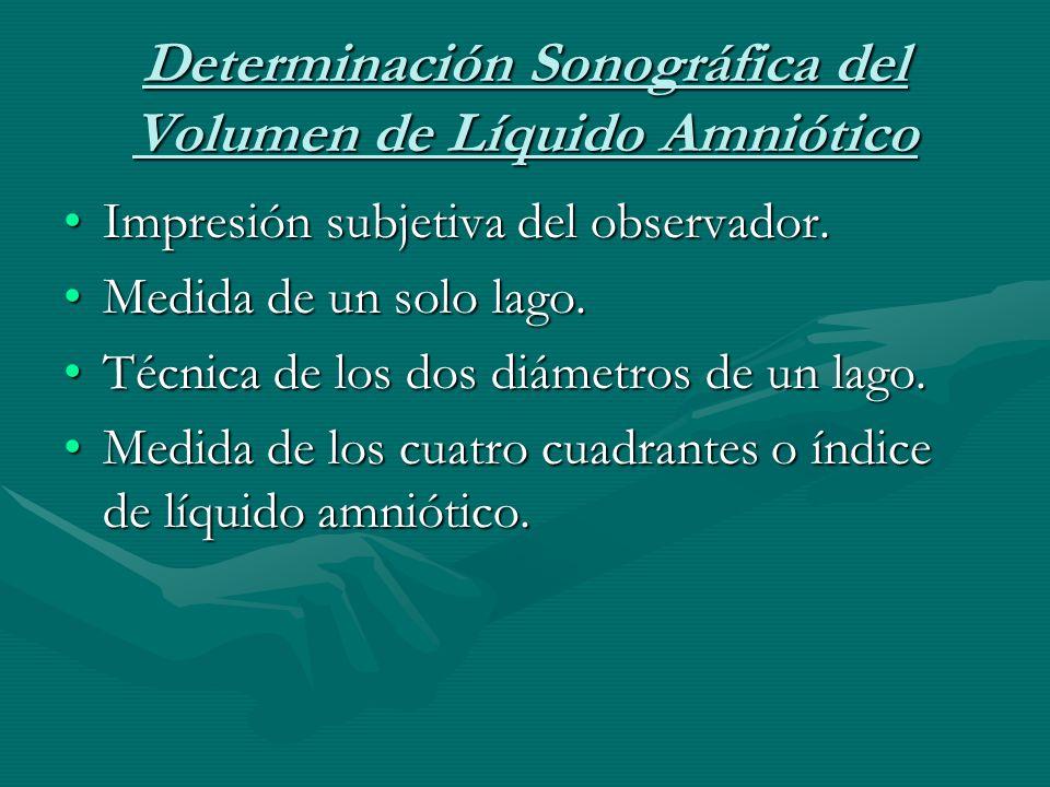 Determinación Sonográfica del Volumen de Líquido Amniótico Impresión subjetiva del observador.Impresión subjetiva del observador.