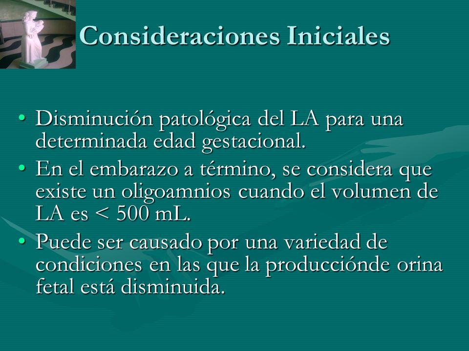 Consideraciones Iniciales Disminución patológica del LA para una determinada edad gestacional.Disminución patológica del LA para una determinada edad gestacional.