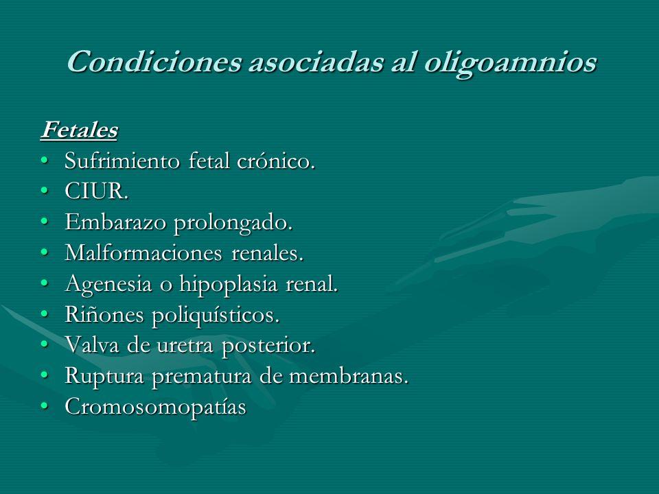 Condiciones asociadas al oligoamnios Fetales Sufrimiento fetal crónico.Sufrimiento fetal crónico.