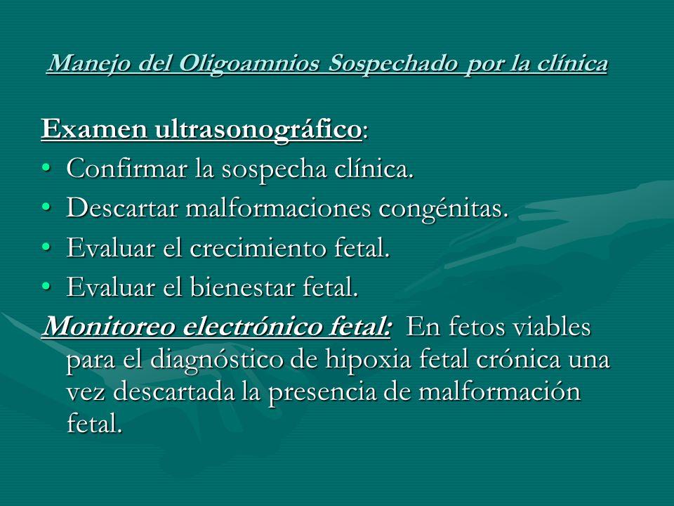 Manejo del Oligoamnios Sospechado por la clínica Examen ultrasonográfico: Confirmar la sospecha clínica.Confirmar la sospecha clínica.