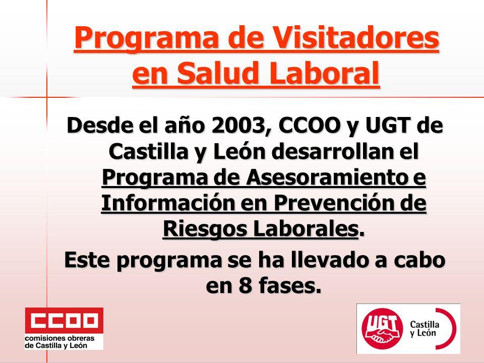 Programa de Visitadores en Salud Laboral Desde el año 2003, CCOO y UGT de Castilla y León desarrollan el Programa de Asesoramiento e Información en Prevención de Riesgos Laborales.