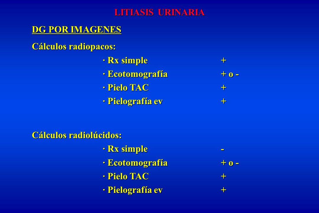 LITIASIS URINARIA DG POR IMAGENES Cálculos radiopacos: · Rx simple + · Ecotomografía+ o - · Pielo TAC+ · Pielografía ev+ Cálculos radiolúcidos: · Rx simple - · Ecotomografía+ o - · Pielo TAC+ · Pielografía ev+