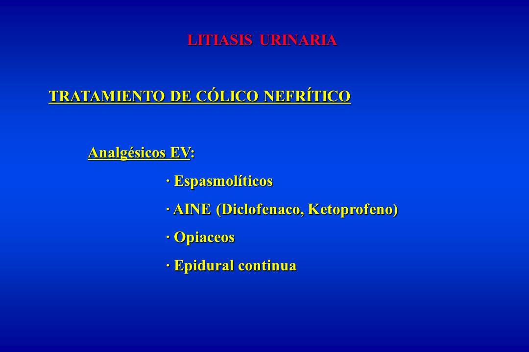 LITIASIS URINARIA TRATAMIENTO DE CÓLICO NEFRÍTICO Analgésicos EV: · Espasmolíticos · AINE (Diclofenaco, Ketoprofeno) · Opiaceos · Epidural continua