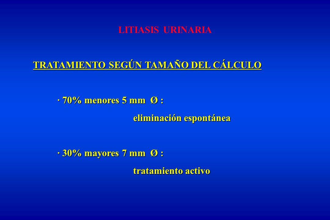 LITIASIS URINARIA TRATAMIENTO SEGÚN TAMAÑO DEL CÁLCULO · 70% menores 5 mm Ø : eliminación espontánea eliminación espontánea · 30% mayores 7 mm Ø : tratamiento activo tratamiento activo