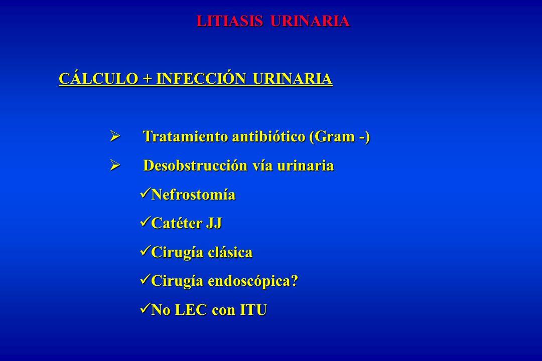 LITIASIS URINARIA CÁLCULO + INFECCIÓN URINARIA Tratamiento antibiótico (Gram -) Tratamiento antibiótico (Gram -) Desobstrucción vía urinaria Desobstru