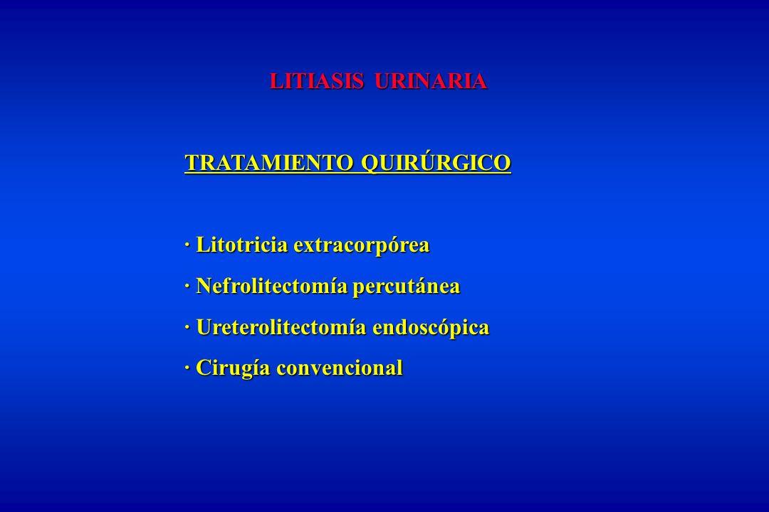 LITIASIS URINARIA TRATAMIENTO QUIRÚRGICO · Litotricia extracorpórea · Nefrolitectomía percutánea · Ureterolitectomía endoscópica · Cirugía convenciona