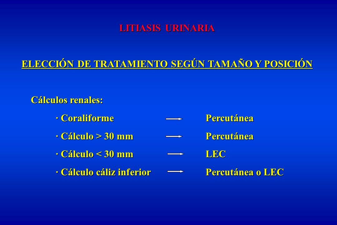 LITIASIS URINARIA ELECCIÓN DE TRATAMIENTO SEGÚN TAMAÑO Y POSICIÓN Cálculos renales: · CoraliformePercutánea · Cálculo > 30 mmPercutánea · Cálculo < 30