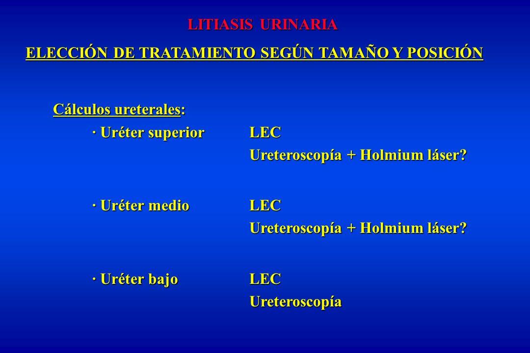 LITIASIS URINARIA ELECCIÓN DE TRATAMIENTO SEGÚN TAMAÑO Y POSICIÓN ELECCIÓN DE TRATAMIENTO SEGÚN TAMAÑO Y POSICIÓN Cálculos ureterales: · Uréter superiorLEC Ureteroscopía + Holmium láser.