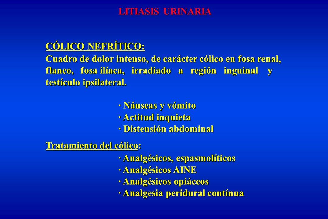LITIASIS URINARIA CÓLICO NEFRÍTICO: Cuadro de dolor intenso, de carácter cólico en fosa renal, flanco, fosa ilíaca, irradiado a región inguinal y testículo ipsilateral.