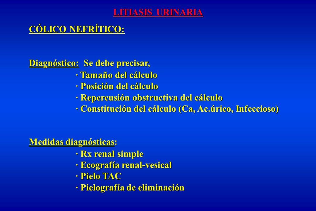 LITIASIS URINARIA CÓLICO NEFRÍTICO: Diagnóstico: Se debe precisar, · Tamaño del cálculo · Posición del cálculo · Repercusión obstructiva del cálculo ·