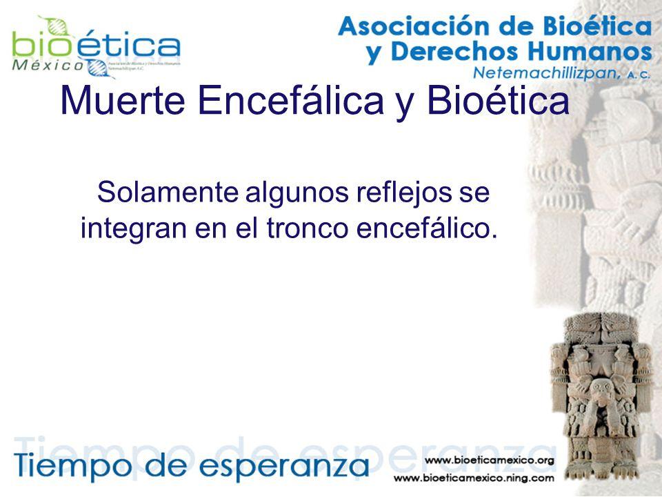 Muerte Encefálica y Bioética Solamente algunos reflejos se integran en el tronco encefálico.