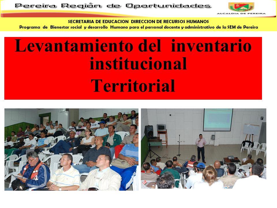 Levantamiento del inventario institucional Territorial SECRETARIA DE EDUCACION DIRECCION DE RECURSOS HUMANOS Programa de Bienestar social y desarrollo