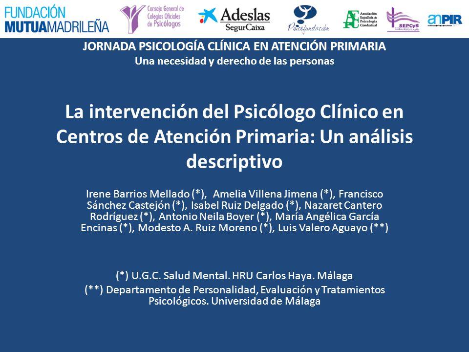 JORNADA PSICOLOGÍA CLÍNICA EN ATENCIÓN PRIMARIA Una necesidad y derecho de las personas La intervención del Psicólogo Clínico en Centros de Atención P