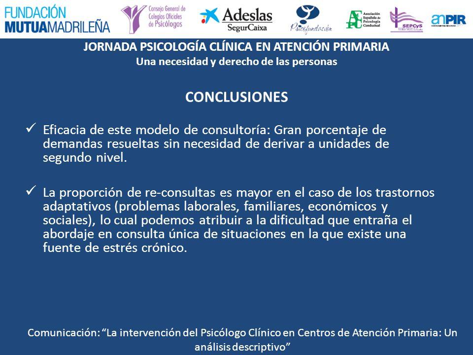 JORNADA PSICOLOGÍA CLÍNICA EN ATENCIÓN PRIMARIA Una necesidad y derecho de las personas CONCLUSIONES Eficacia de este modelo de consultoría: Gran porc