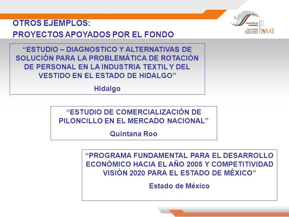 OTROS EJEMPLOS: PROYECTOS APOYADOS POR EL FONDO ESTUDIO DE COMERCIALIZACIÓN DE PILONCILLO EN EL MERCADO NACIONAL Quintana Roo ESTUDIO – DIAGNOSTICO Y