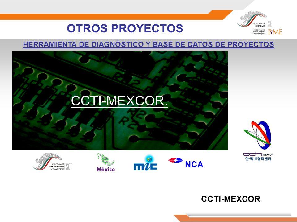 HERRAMIENTA DE DIAGNÓSTICO Y BASE DE DATOS DE PROYECTOS CCTI-MEXCOR. NCA CCTI-MEXCOR OTROS PROYECTOS