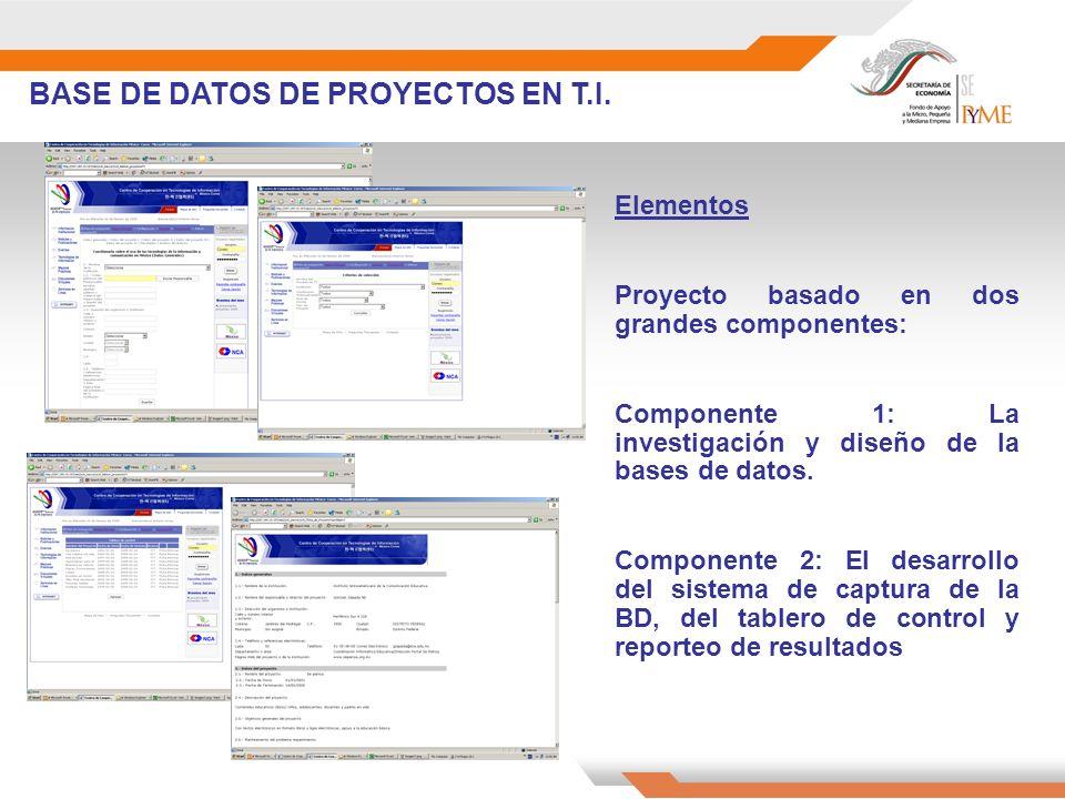 BASE DE DATOS DE PROYECTOS EN T.I. Elementos Proyecto basado en dos grandes componentes: Componente 1: La investigación y diseño de la bases de datos.