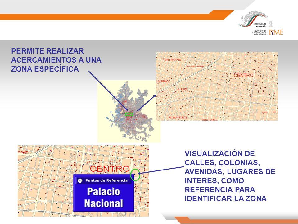PERMITE REALIZAR ACERCAMIENTOS A UNA ZONA ESPECÍFICA VISUALIZACIÓN DE CALLES, COLONIAS, AVENIDAS, LUGARES DE INTERES, COMO REFERENCIA PARA IDENTIFICAR