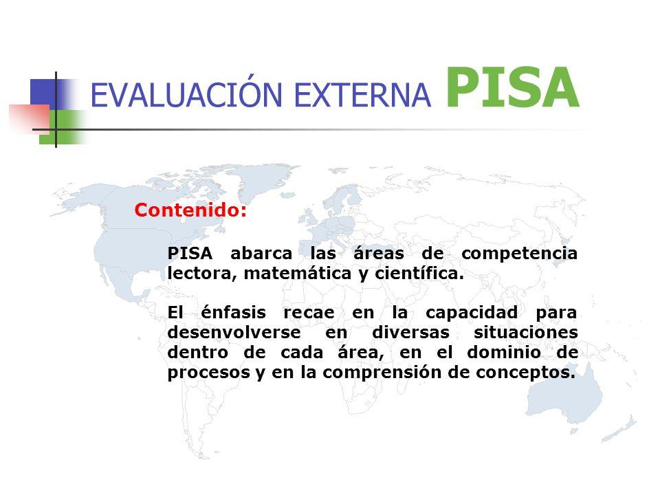 EVALUACIÓN EXTERNA PISA Contenido: PISA abarca las áreas de competencia lectora, matemática y científica.