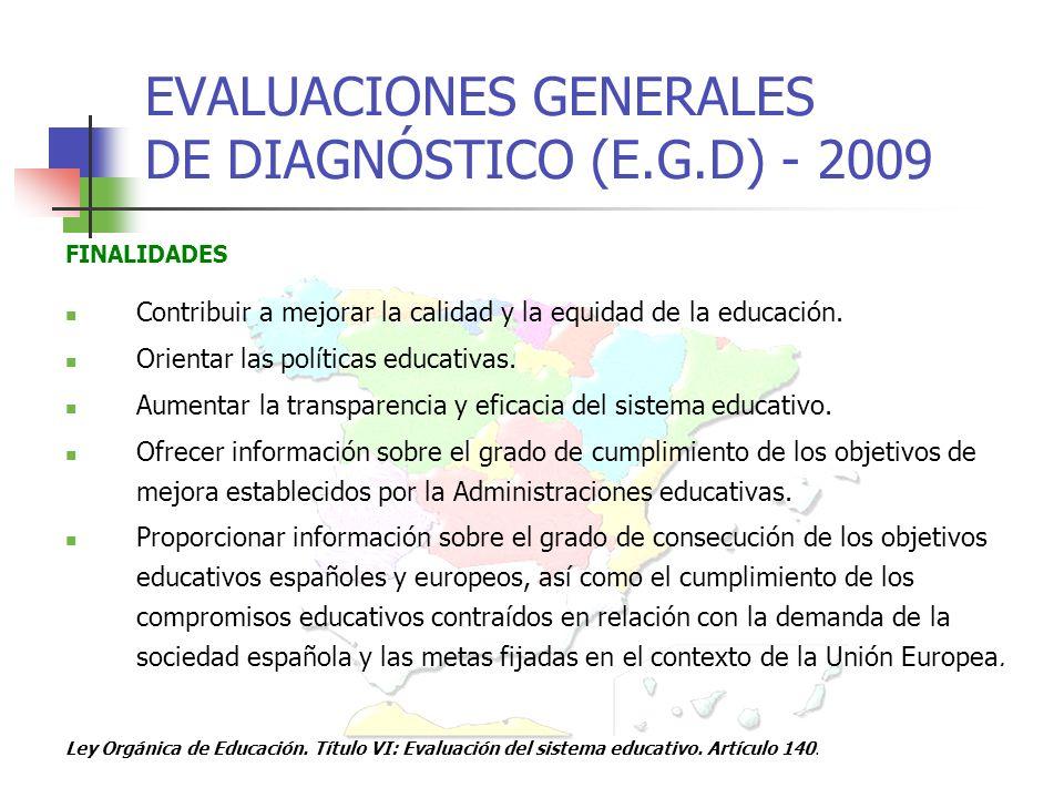 EVALUACIONES GENERALES DE DIAGNÓSTICO (E.G.D) - 2009 FINALIDADES Contribuir a mejorar la calidad y la equidad de la educación.