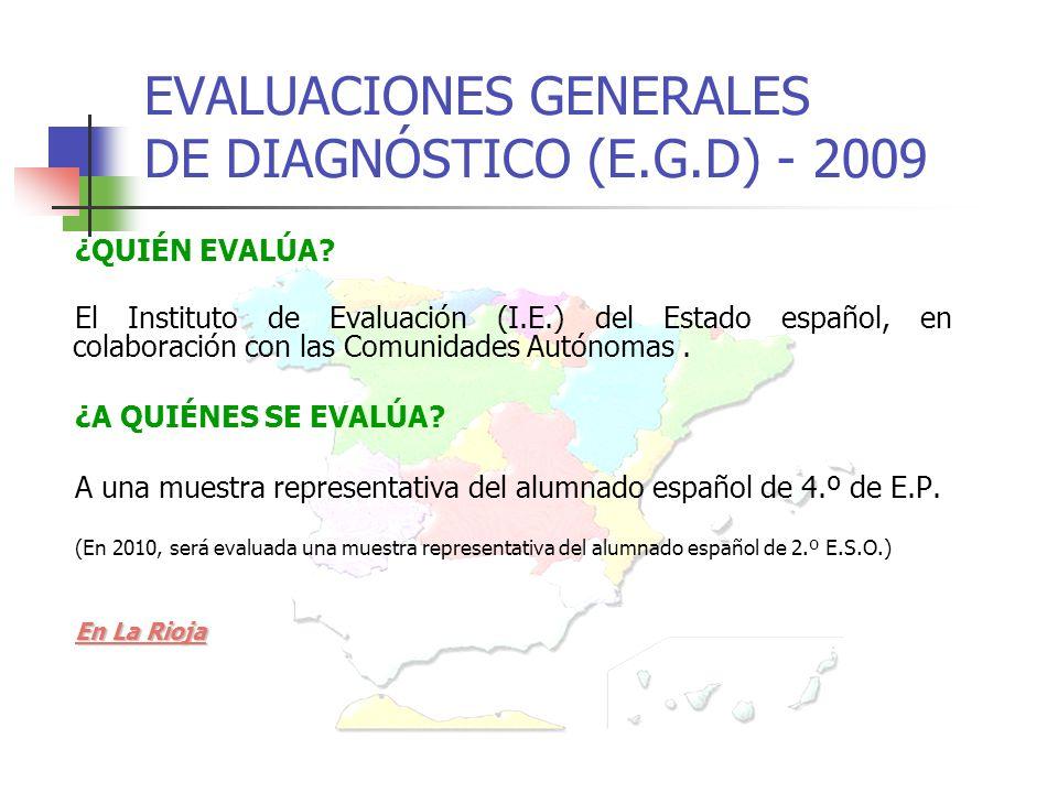 EVALUACIONES GENERALES DE DIAGNÓSTICO (E.G.D) - 2009 ¿QUIÉN EVALÚA.