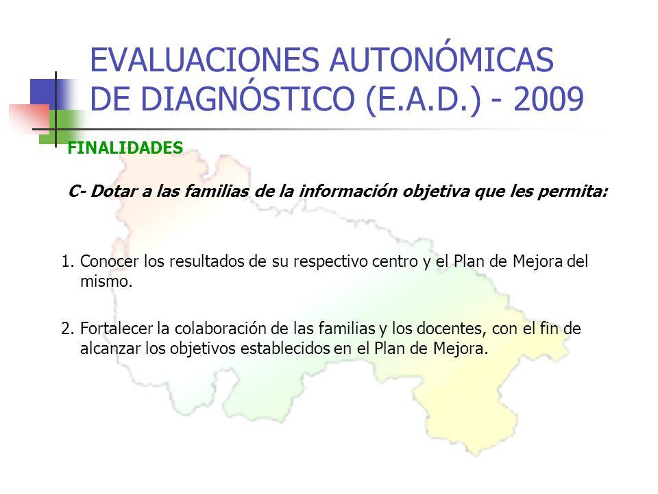 EVALUACIONES AUTONÓMICAS DE DIAGNÓSTICO (E.A.D.) - 2009 FINALIDADES C- Dotar a las familias de la información objetiva que les permita: 2.