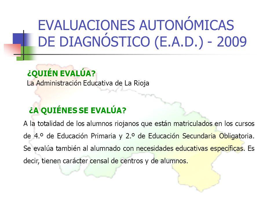 EVALUACIONES AUTONÓMICAS DE DIAGNÓSTICO (E.A.D.) - 2009 ¿QUIÉN EVALÚA.