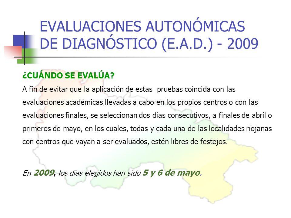 EVALUACIONES AUTONÓMICAS DE DIAGNÓSTICO (E.A.D.) - 2009 ¿CUÁNDO SE EVALÚA.