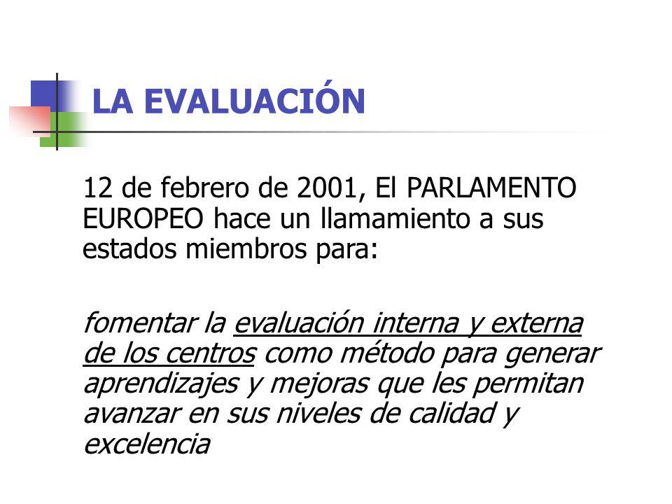 LA EVALUACIÓN 12 de febrero de 2001, El PARLAMENTO EUROPEO hace un llamamiento a sus estados miembros para: fomentar la evaluación interna y externa de los centros como método para generar aprendizajes y mejoras que les permitan avanzar en sus niveles de calidad y excelencia