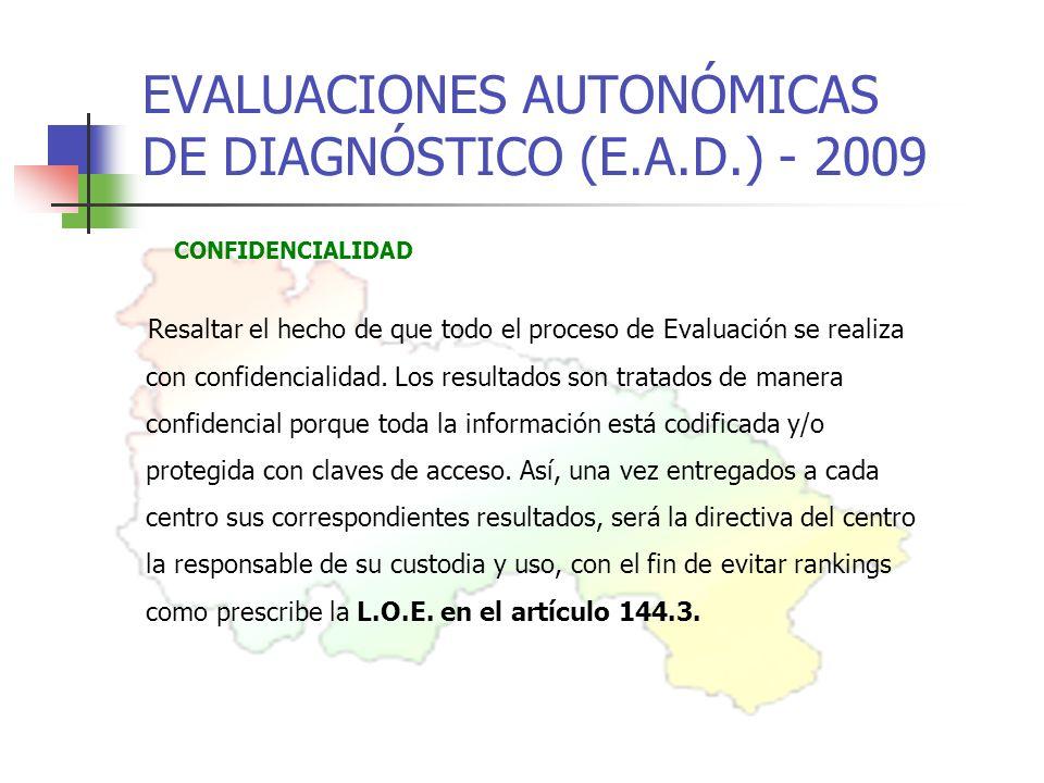 EVALUACIONES AUTONÓMICAS DE DIAGNÓSTICO (E.A.D.) - 2009 CONFIDENCIALIDAD Resaltar el hecho de que todo el proceso de Evaluación se realiza con confidencialidad.