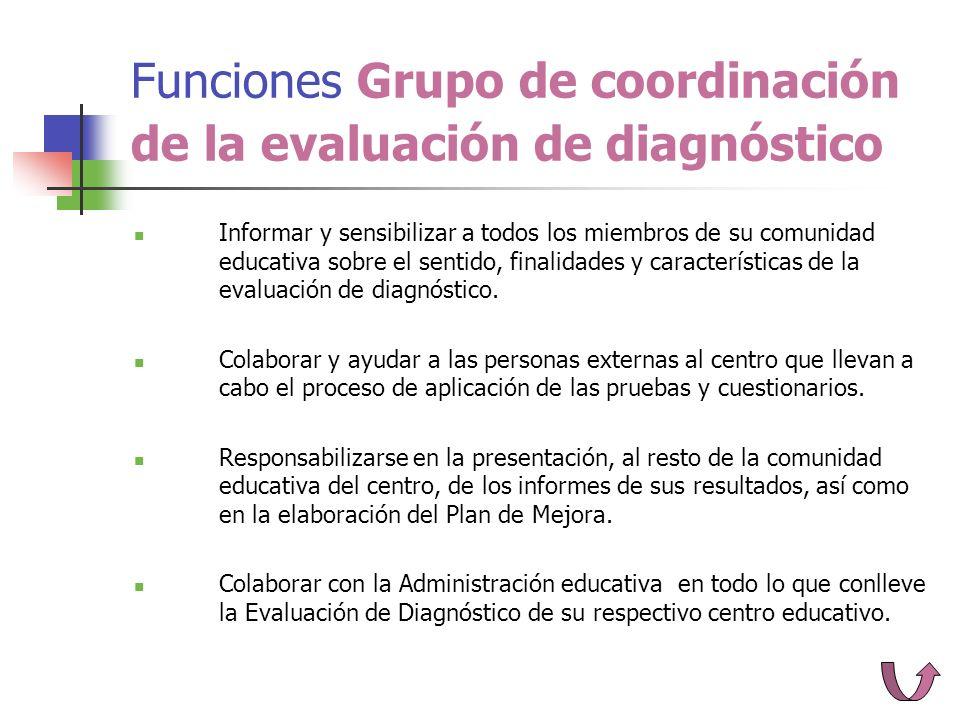 Funciones Grupo de coordinación de la evaluación de diagnóstico Informar y sensibilizar a todos los miembros de su comunidad educativa sobre el sentido, finalidades y características de la evaluación de diagnóstico.