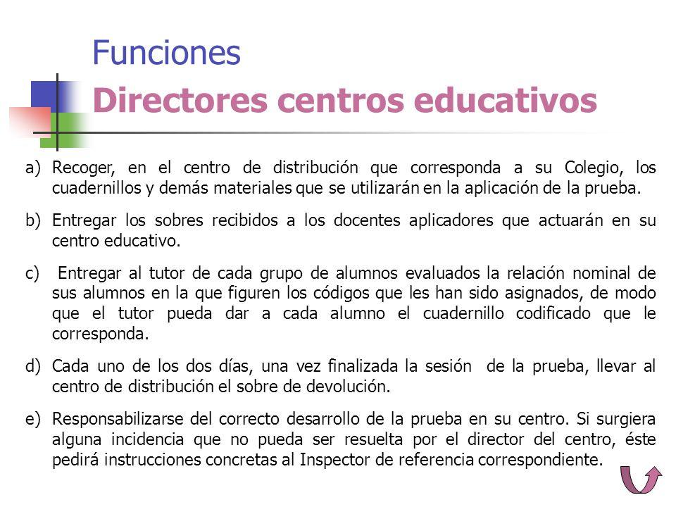 Funciones Directores centros educativos a)Recoger, en el centro de distribución que corresponda a su Colegio, los cuadernillos y demás materiales que se utilizarán en la aplicación de la prueba.