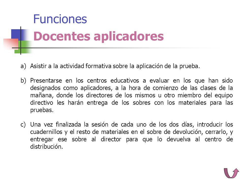 Funciones Docentes aplicadores a)Asistir a la actividad formativa sobre la aplicación de la prueba.