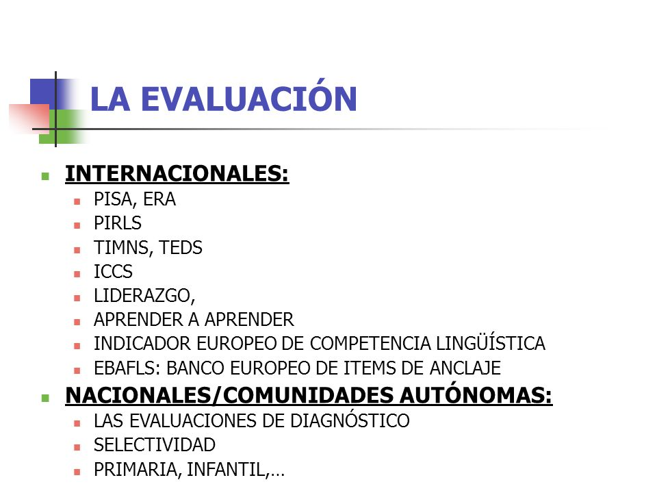 LA EVALUACIÓN INTERNACIONALES: PISA, ERA PIRLS TIMNS, TEDS ICCS LIDERAZGO, APRENDER A APRENDER INDICADOR EUROPEO DE COMPETENCIA LINGÜÍSTICA EBAFLS: BANCO EUROPEO DE ITEMS DE ANCLAJE NACIONALES/COMUNIDADES AUTÓNOMAS: LAS EVALUACIONES DE DIAGNÓSTICO SELECTIVIDAD PRIMARIA, INFANTIL,…